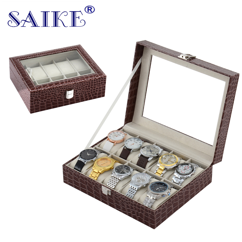 SAIKE 10 Grids Watch Box Top Quality PU Leather Watch Jewelry Storage Case Box Holder for Jewelry Watch Display Storage Boxes 2017 top pu leather watch case with window black 10 grids watch storage boxes brand watch display box watch gift box b038