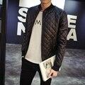 Дизайнерский Бренд 2016 Коричневый Модные Кожаные Куртки Мужчин Повседневная Мужская Решетки Алмаза Кожаные Куртки Jaqueta Де Couro Masculina