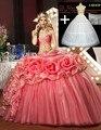Querida longo tulle vestidos quinceanera 2016 big floral peplum meninas pageant vestido sweet 16 vestido de baile vestido de debutante