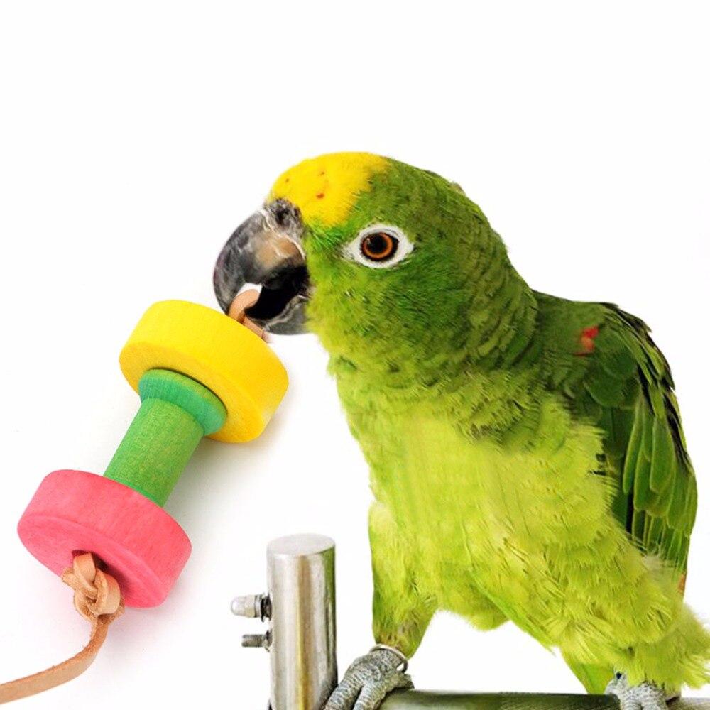 ПОПЫГАЙ птицу Гантели жевать Игрушечные лошадки древесины для Попугай Cockatiel Смешные клетка игрушка