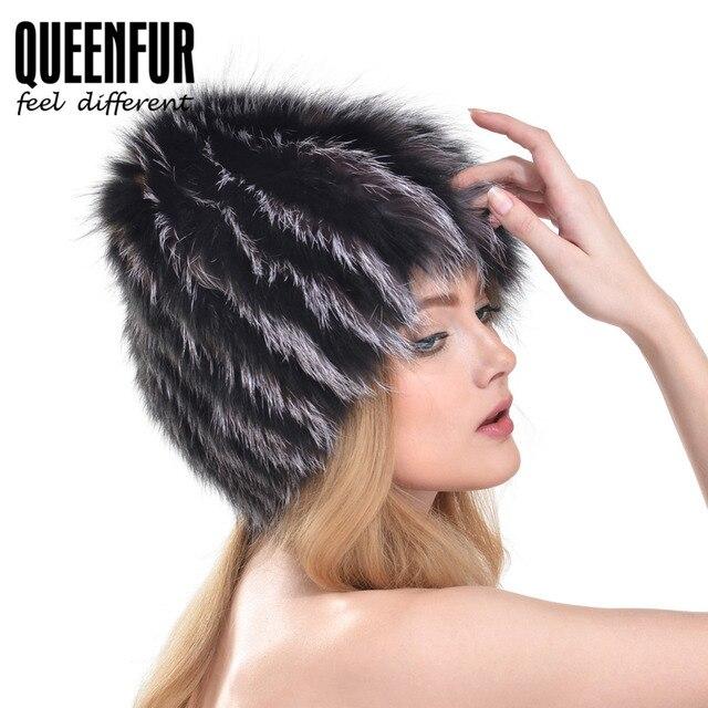 QUEENFUR 2016 Nuevo Genuine Silver Fox Fur Skullies Muchachas de La Manera Real de Punto de Piel de Zorro Sombrero de piel de Mapache Raya Gorros Sombrero