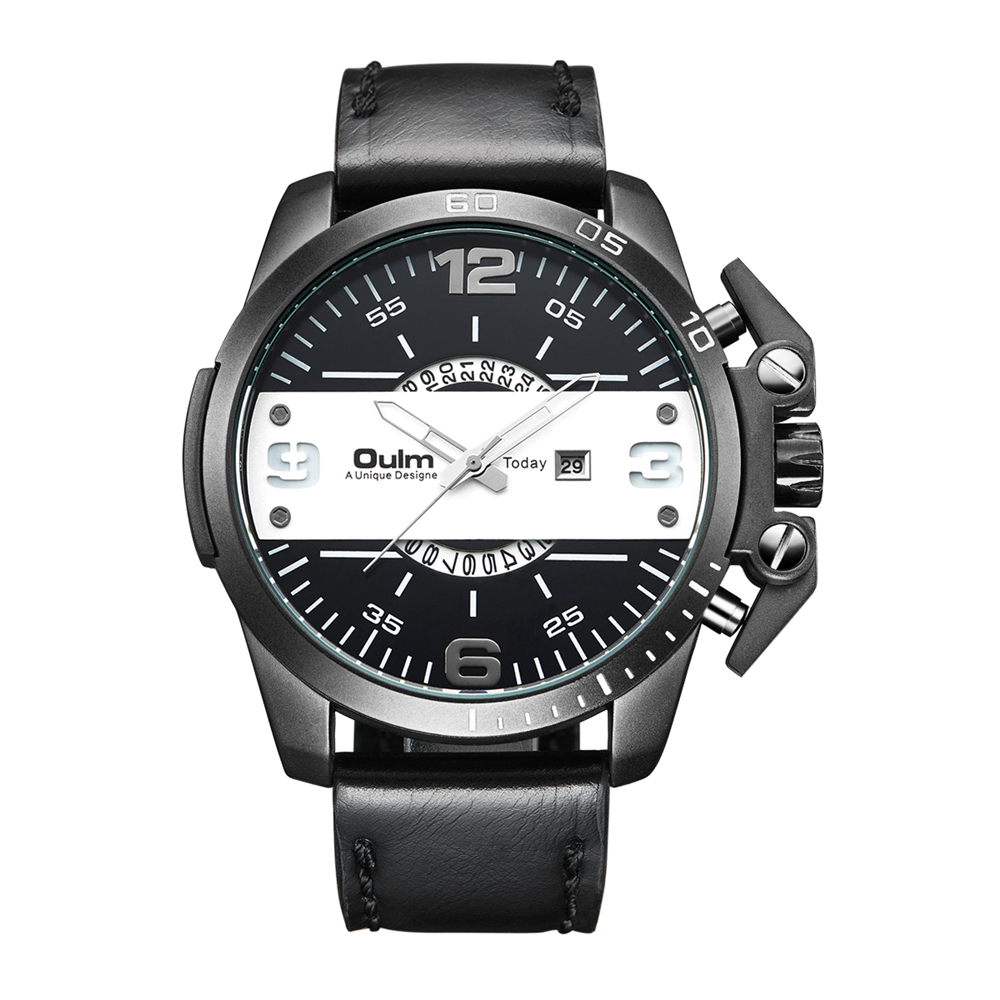 Luxury Men's Oulm Watch Sport relojes Japan Double Movement Square Dial Compass Function Military Cool Stylish Wristwatches