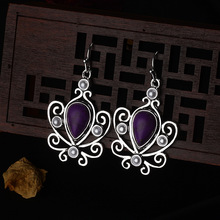 Female Earrings Antique Vintage Jewelry Purple Moonstone Silver for Women Fashion Accessories Gifts