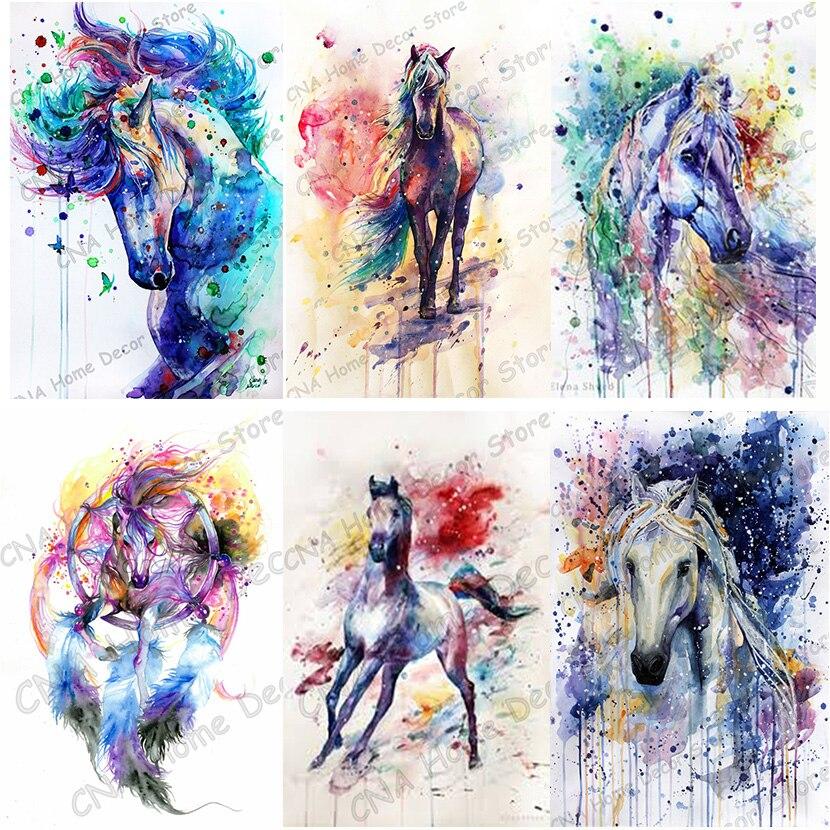 Full Horses Drill Resin Ribbon Mosaic Unicorn 5D Diy Embroidery Diamond Painting colorful animal 3D Cross Stitch Kits room decor