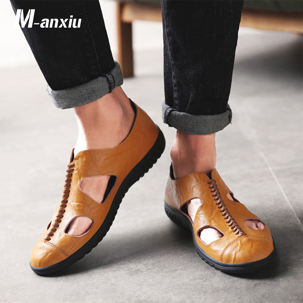 M-anxiu 2018 Summer Men Genuine Leather Breath Shoes Casual Light Rubber Sole Hollow Out Sandal