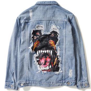 Men's Hip Hop Streetwear Denim Jeans Jackets 2019 Spring Funny Dog Patch Design Broken Hole Coats Fashion Outwear
