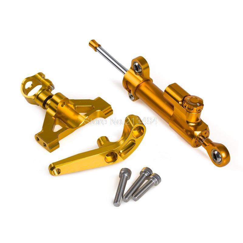 Высокое качество золото рулевой демпфер Стабилизатор с кронштейном для Kawasaki ZZR1400 на ZX-14Р 2006-2015