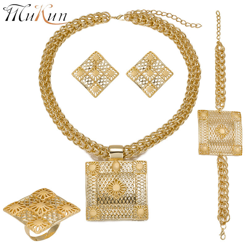 MUKUN fine quality jewellery sets for women Dubai Gold color Jewelry sets African Women Big Necklace Jewellery Mother's Day gift