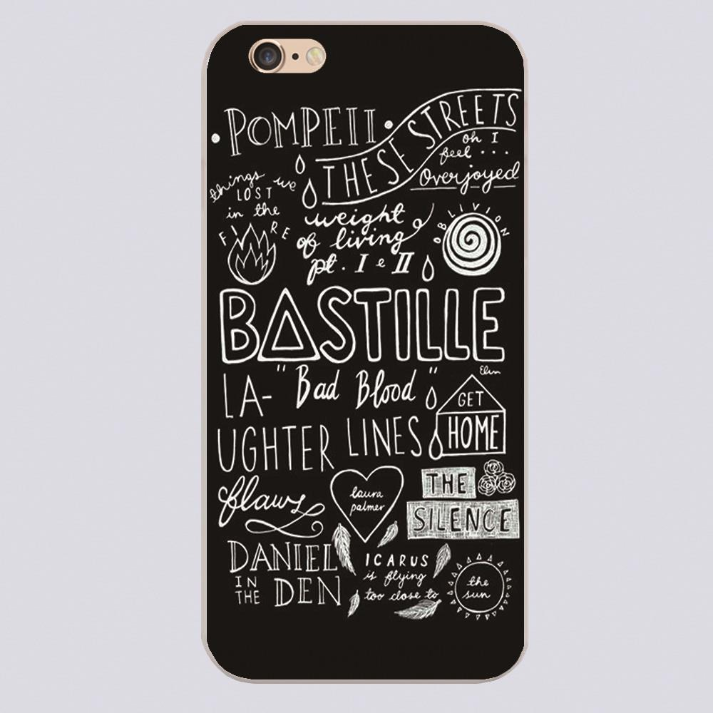 BASTILLE QOUTES Design black skin phone cover cases for iphone 4 5 5c 5s 6 6s 6plus Hard Shell