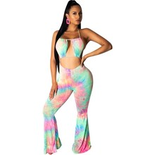 2019 Rainbow Tie Dye Sexy Bodycon Jumpsuit Women Cut Out Backless Flare Overalls Halter Sleeveless Club Party Playsuit