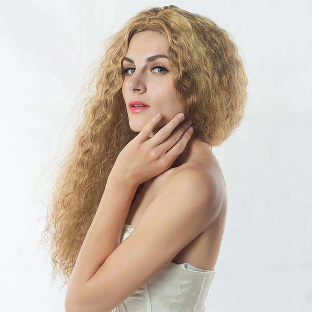 Пермь парик цвета кукурузы 65 см химическое сказка парик для принцессы женский парик жаропрочных длинными вьющимися парик блондинка пушистые волосы костюм