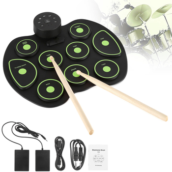 Portable Electronic 9 Pads Roll up Silicone Drum with Drumsticks and Sustain Pedal Children Students Practice Drum dp 850 practice drum pad lightweight and portable design cherub