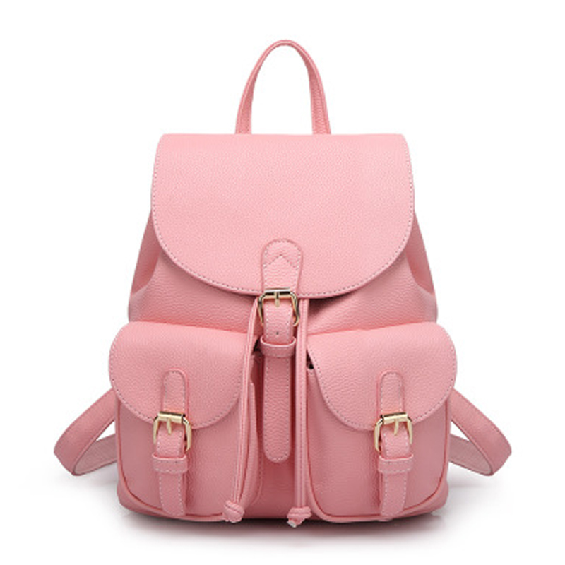 Women Leather Backpack Black Bolsas Mochila Feminina Large Girl Schoolbag High-capacity Casual Bag Solid Candy Color Pink Beige 2017 new women leather backpacks bolsas mochila feminina large girls schoolbag travel bag solid candy color femme sac a dos