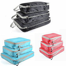 3 Pcs Reizen Opbergtas Set Voor Kleding Tidy Organizer Garderobe Koffer Pouch Travel Organizer Bag Case Schoenen Verpakking Kubus tas