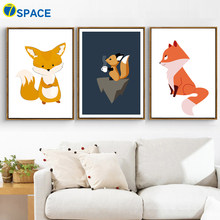 Cute Fox Animals Posters And Prints Wall Art Canvas Painting Nordic Poster Wall Pictures For Kids Room Nursery Art Print Decor(China)