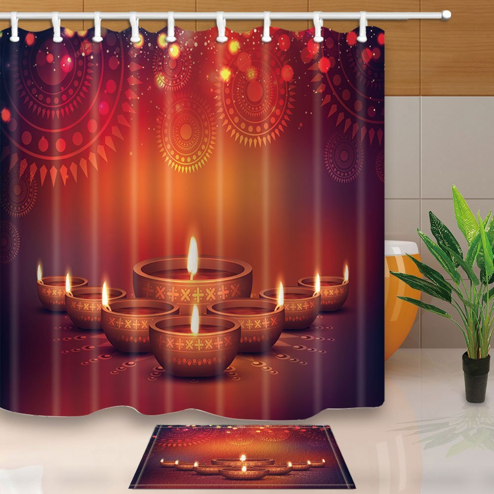 Lit Fabric Happy Diwali Decor Elegant Oil Lit Lamps With Floral Flower