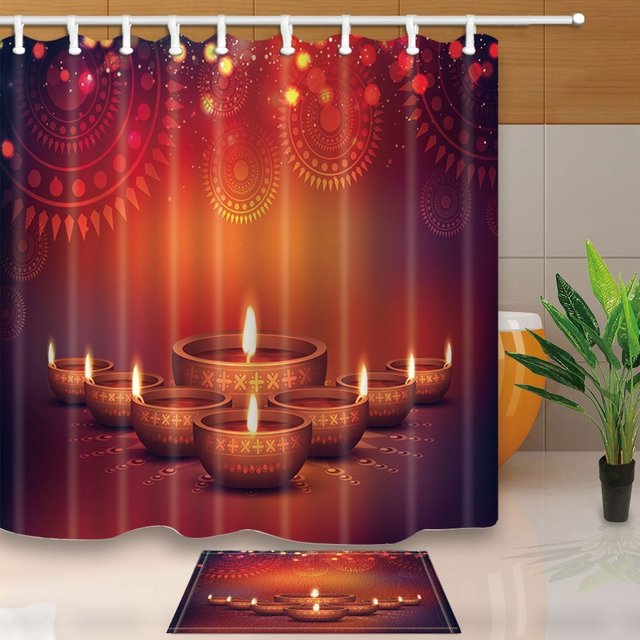 Happy Diwali Decor Elegant Oil Lit Lamps With Floral Flower Waterproof  Polyester Fabric Shower Curtain Set Doormat Bath Rugs