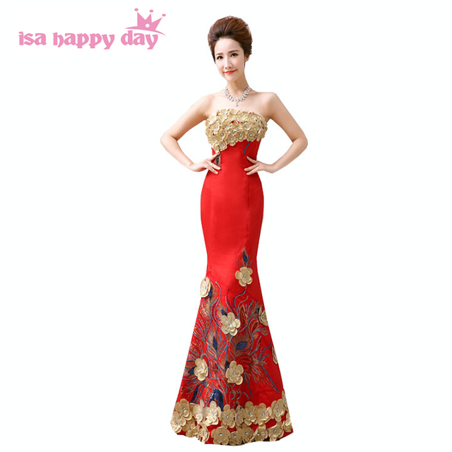 Aliexpress.com : Buy women red strapless bride night dress long ...
