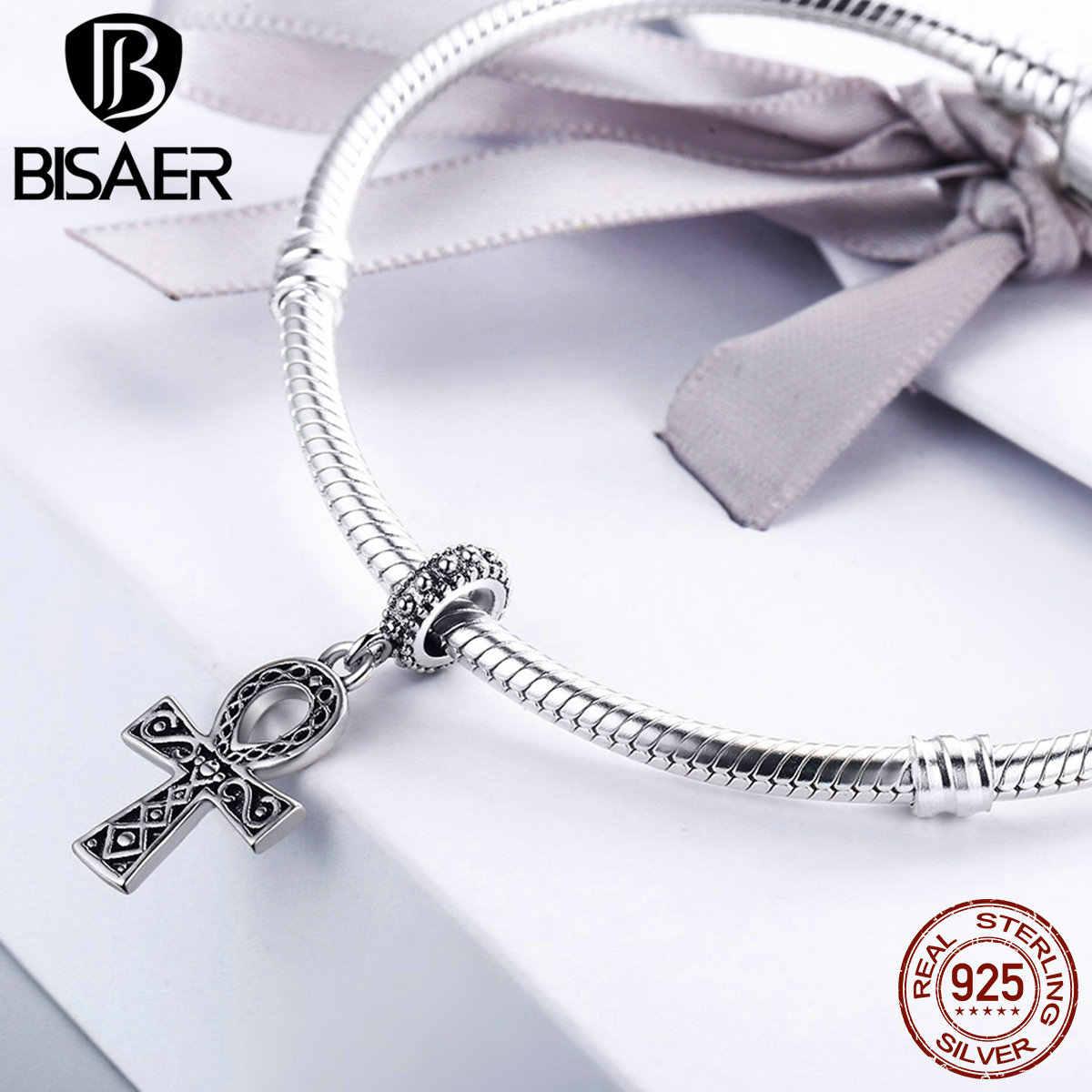 Bisaer autêntico 925 prata esterlina fé ankh cruz balançar contas caber pan original charme pulseira diy jóias finas presente
