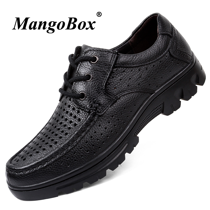Man Dress Shoes Genuine Leather Man Business Shoes Big Size 37-48 Men Shoes Luxury Brand Black Spring Summer Office Sneakers