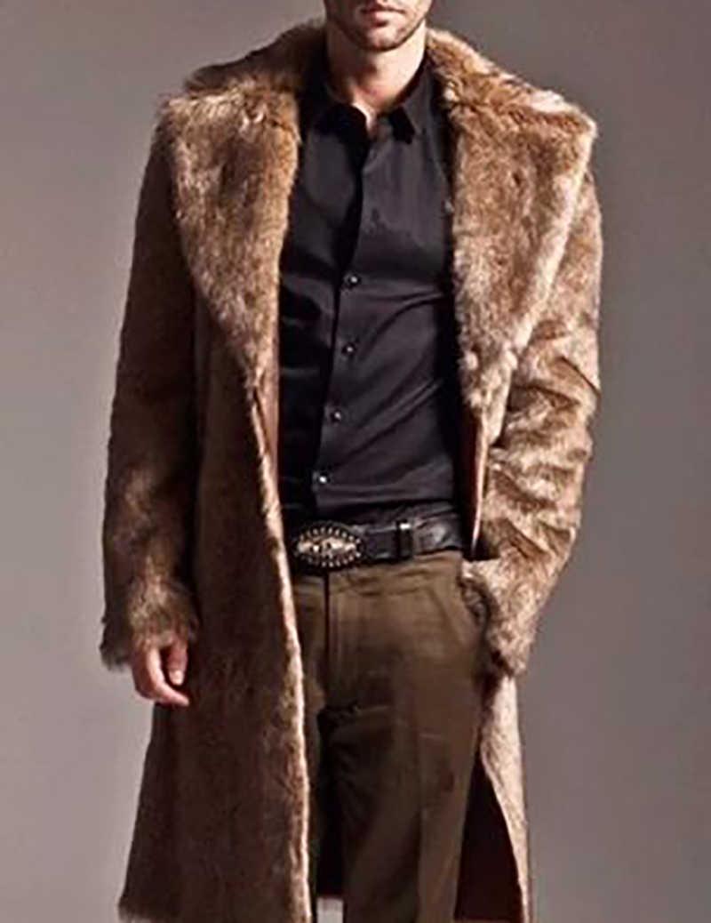 ผู้ชายเสื้อขนสัตว์ฤดูหนาว Faux Fur Outwear หนึ่งด้านเสื้อ Mens Punk Parka แจ็คเก็ตหนังยาวเสื้อกันหนาวขนสัตว์แท้แบรนด์เสื้อผ้า