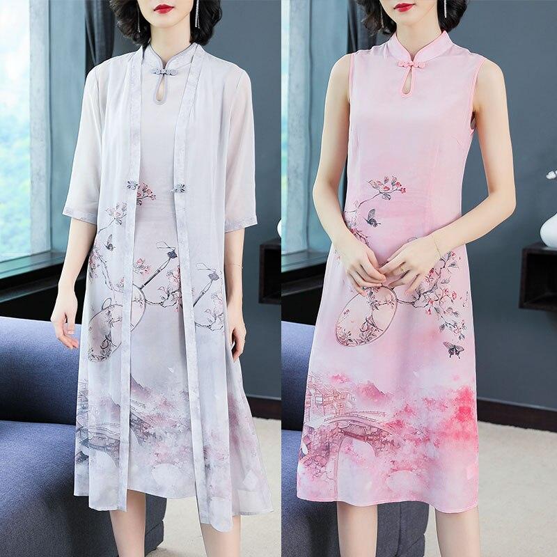 Robe sans manches avec Cardigan 2 pièces ensemble robes costumes imprimé Floral élégant Vintage chinois grande taille grande 2019 vêtements d'été