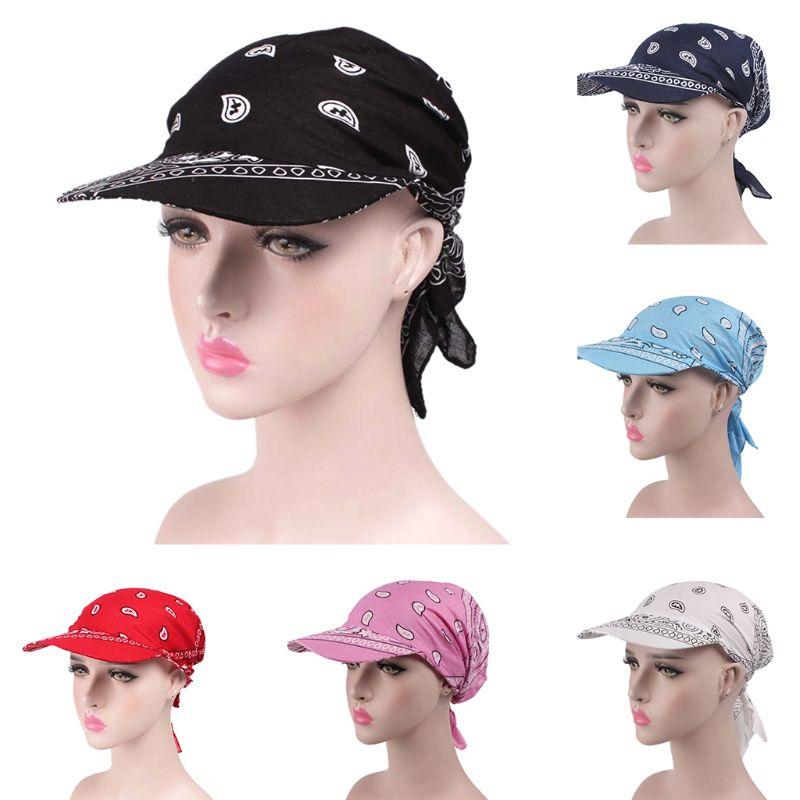 Unisex Pre Fitted Bandana Turban Hat Boho Paisley Floral Tie Knot Back Cotton Baseball Cap Adjustable Headscarf Sun  Visor Hat