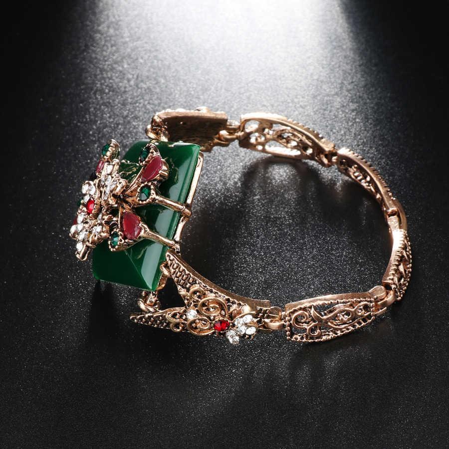 d2a326611b68 ... Kinel зеленый большой браслет для женщин Винтаж ювелирные изделия  античное золото цвет турецвечерние Вечеринка браслеты бижутерия ...