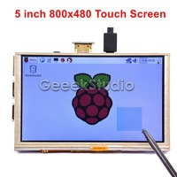 5 Inch GPIO HDMI TFT LCD 800*480 Touch Screen, Only Compatible with Raspberry Pi 3 / 2 Model B
