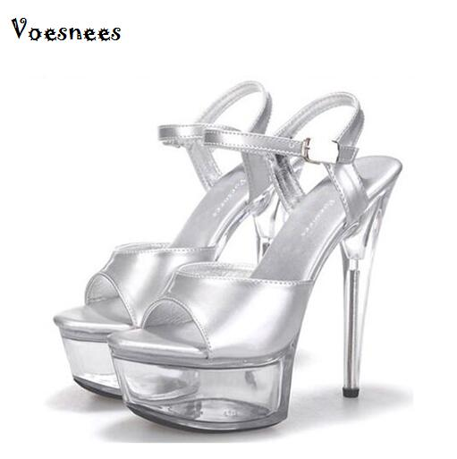 Genuine Car Models Shoes 2019 Hot New Nightclub Sexy Stage Shoes 15cm High-heeled Sandals Silver Sequins Wedding Shoes