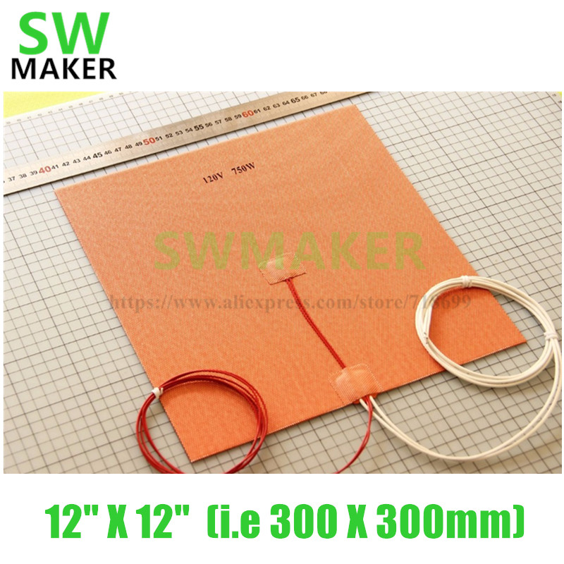 SWMAKER 12 X 12 (i.e 300 X 300mm) 110V/120V/220V 750W Flexible Silicone Heater Mat/Pad for 3D Printer Heated Bed Heating bed dia 400mm 900w 120v 3m ntc 100k round tank silicone heater huge 3d printer build plate heated bed electric heating plate element