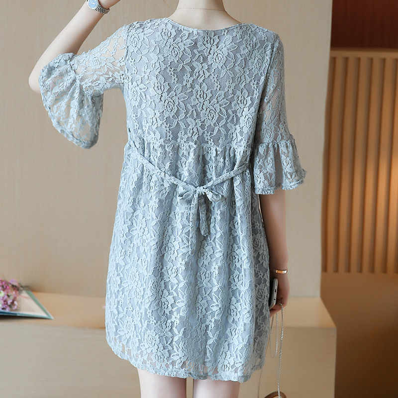 1473009a13d ... 2018 New Lace Breastfeeding Clothing Maternity Dresses Cute Character  Breathable Loose Short O Neck Pregnant Nursing