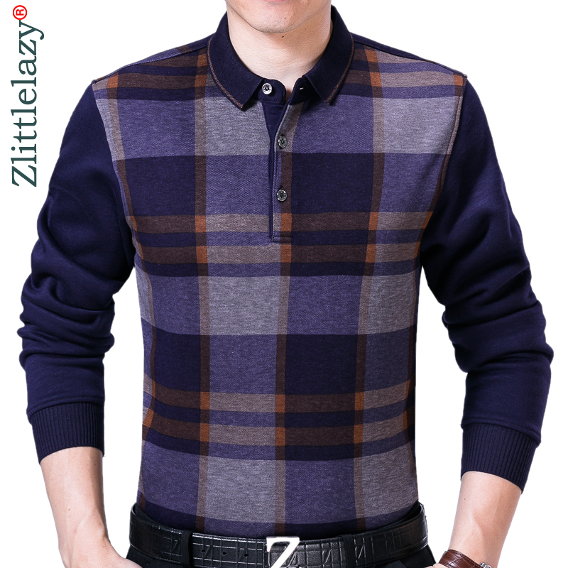 2019 popular brands plaid   polo   shirt men clothes streetwear fashions winter autumn thick shirts   polos   mens jersey poloshirt 8878