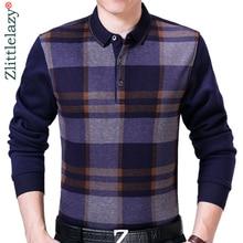 2020 פופולרי מותגים משובץ פולו חולצת גברים בגדי אופנת Streetwear חורף סתיו עבה חולצות Polos Mens ג רזי Poloshirt 8878