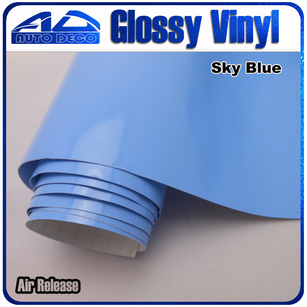 High Quality Sky Blue Glossy Car Wrap Sticker Film Foil With Air Bubble Free for Car Cover Color Change size :1.52*30m/roll 9005 blue film super bright car halogen bulb for headlight with high quality drop shipping