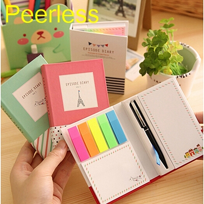 Peerless Rainbow Color Cartoon Print Cover Bookmark Notepad Sticky Notes Stationery School Supplies With Pen Random