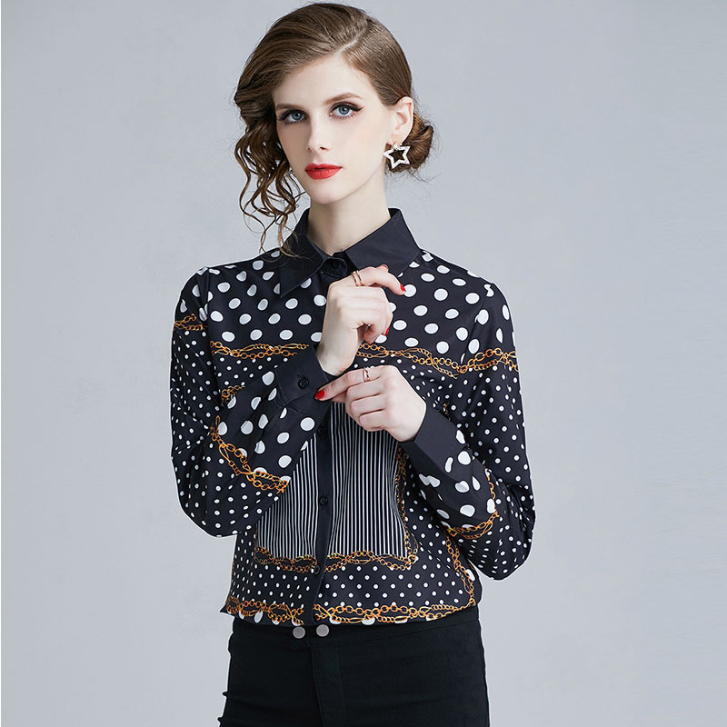 New Arrival Women Long Sleeve Polka Dot Print Blouse Fashion Design Elegant Shirt Turn Down Collar Plus Size Runway Tops