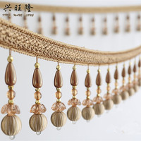XWL 6M Lot Beaded Fringe Lace Trim For Curtains DIY Lamp Sofa Stage Decorative Crystal Beads