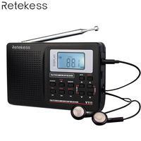 RETEKESS V111 Портативный FM компактное минирадио стерео МВт SW LW Портативный радио полный диапазон коротковолновой приемник будильник 9 кГц 10 ради...