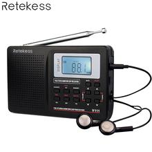 RETEKESS V111 Portable FM Radio DSP Stereo MW SW LW Portable Radio Full Band World Receiver Clock Alarm 9 KHZ 10 KHZ Radio цена