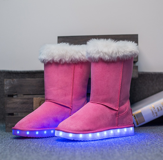 2017 Kids Luminous Shoes Girls Boys Boots LED Winter Children Boots Thick Warm Snow Boots USB Rechargeable LED Shoes Eur 25-40 glowing sneakers usb charging shoes lights up colorful led kids luminous sneakers glowing sneakers black led shoes for boys