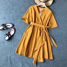Summer Dress New Fashion Belt V-neck Womens Korean Version Medium-length Elastic waist A-shaped