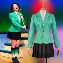Anime Heathers De Muzikale Rock Heather Duke Stage Cosplay Kostuum XS XL In Voorraad Vrouwen Groene Jas Jk Uniform Rok Concert