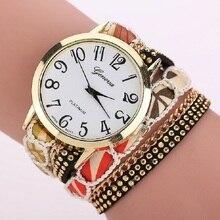 TOP Huge Dial Flowers Band Wrap Giant Strap Bracelet Geneva Fashion Watch Scholar Trend Lady Wristwatches quartz montre Alloy