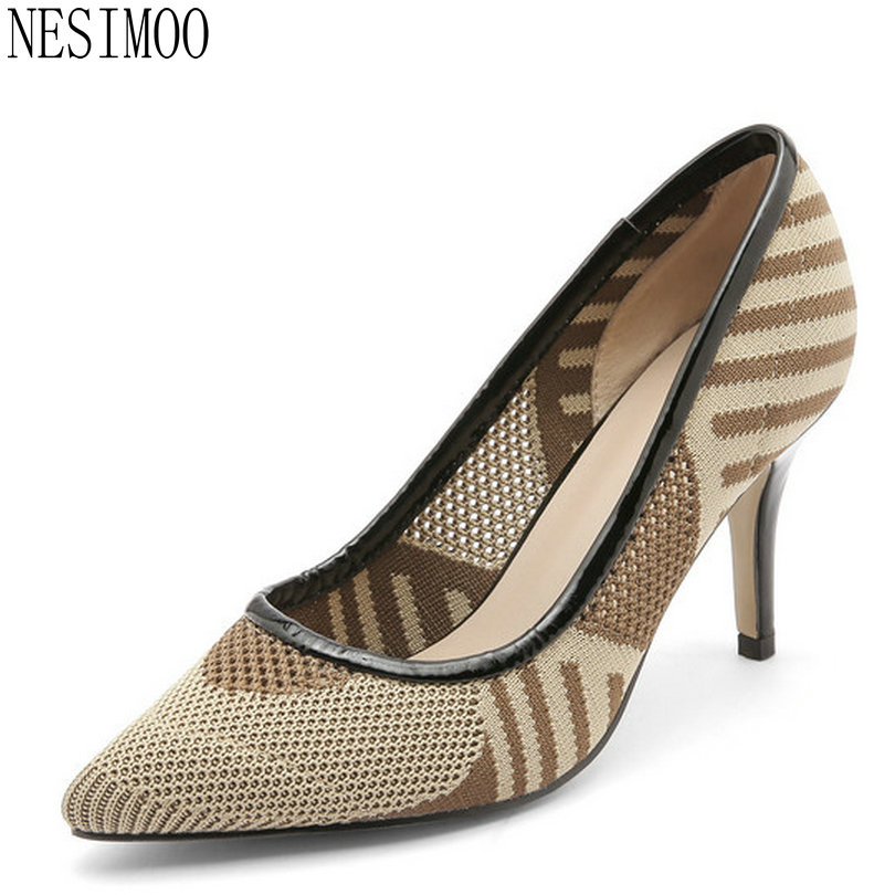 NESIMOO 2018 Women Pumps Pointed Toe Fashion Thin High Heel Westrn Style All Match Pu Leather Ladies Casual Shoes Size 34-39