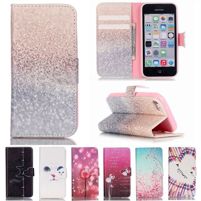 cheap for discount 2db07 78d18 For Fundas iPhone 5 Case Leather Wallet & Silicone Flip Cover Phone Case  iPhone 5s Case Cover Cute White Cat For Coque iPhone SE-in Wallet Cases  from ...