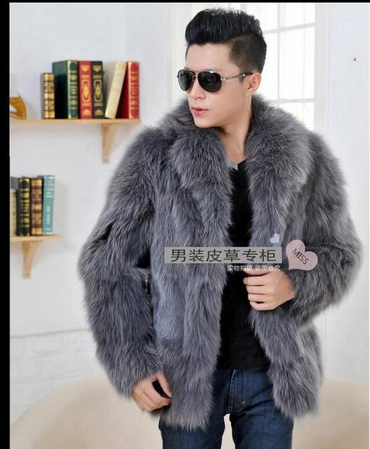 New Mens Fox Fur Jacket Winter Autumn Warm Fur Coats Casual Jackets Outwear Fur Clothes Male Fox Fur Collar Jackets J1648-6