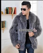 New Mens Fox Fur Jacket Winter Autumn Warm Fur Coats Casual Jackets Outwear Fur Clothes Male Fox Fur Collar Jackets J1648-6