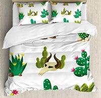 Cactus Duvet Cover Set Mexican South Desert with Animals Cactus Plants Skeletons Flowers Cartoon Image 4 Piece Bedding Set
