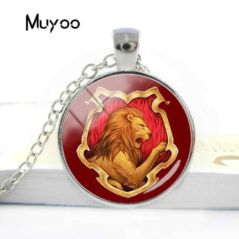 2018 nuevo diseño Hogwarts Slytherin Hufflepuff escuelas joyería Gryffindor ravenclay collar cristal cabujón colgante joyería